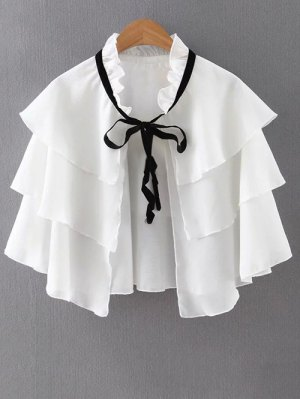 Layered Ruffles Solid Color Cape - White