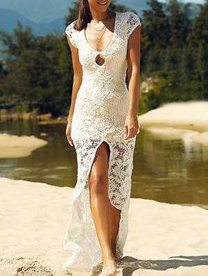 Front Slit Maxi Lace Dress - White