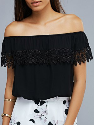 Lace Spliced Off The Shoulder Cropped T-Shirt - Black