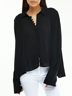 Long Sleeve Flowy Shirt - Black
