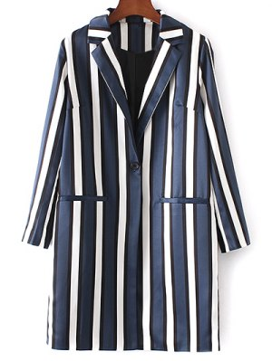 Striped Lapel Collar Long Sleeve Coat - Blue And White