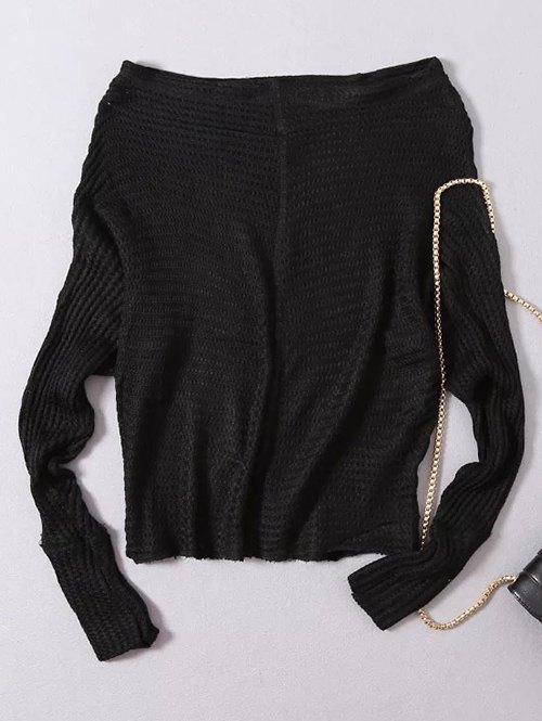 Slash Neck Batwing Sleeve Loose Fitting Sweater