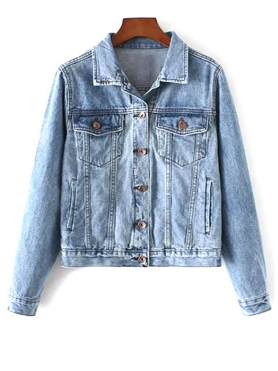 Shirt Neck Pockets Denim Jacket