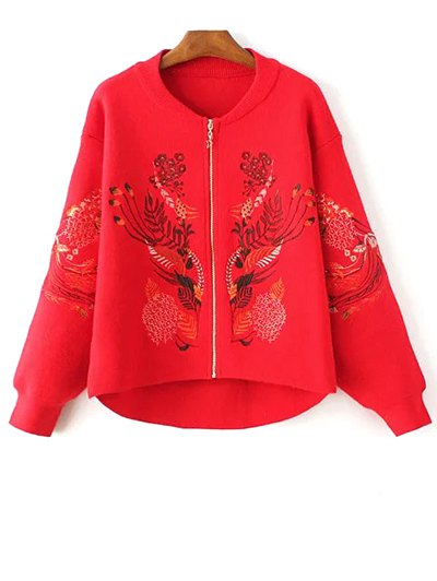 Stand Neck Long Sleeve Embroidered Zipper Cardigan