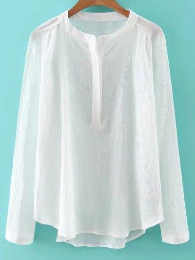 Bluză de damă, fashion, slim fit, din bumbac, cu mâneci lungi și guler rotund