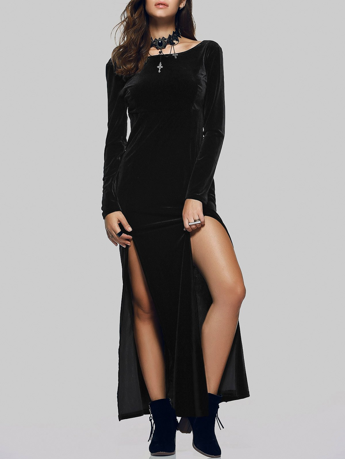 Long Sleeves Velvet Maxi Dress