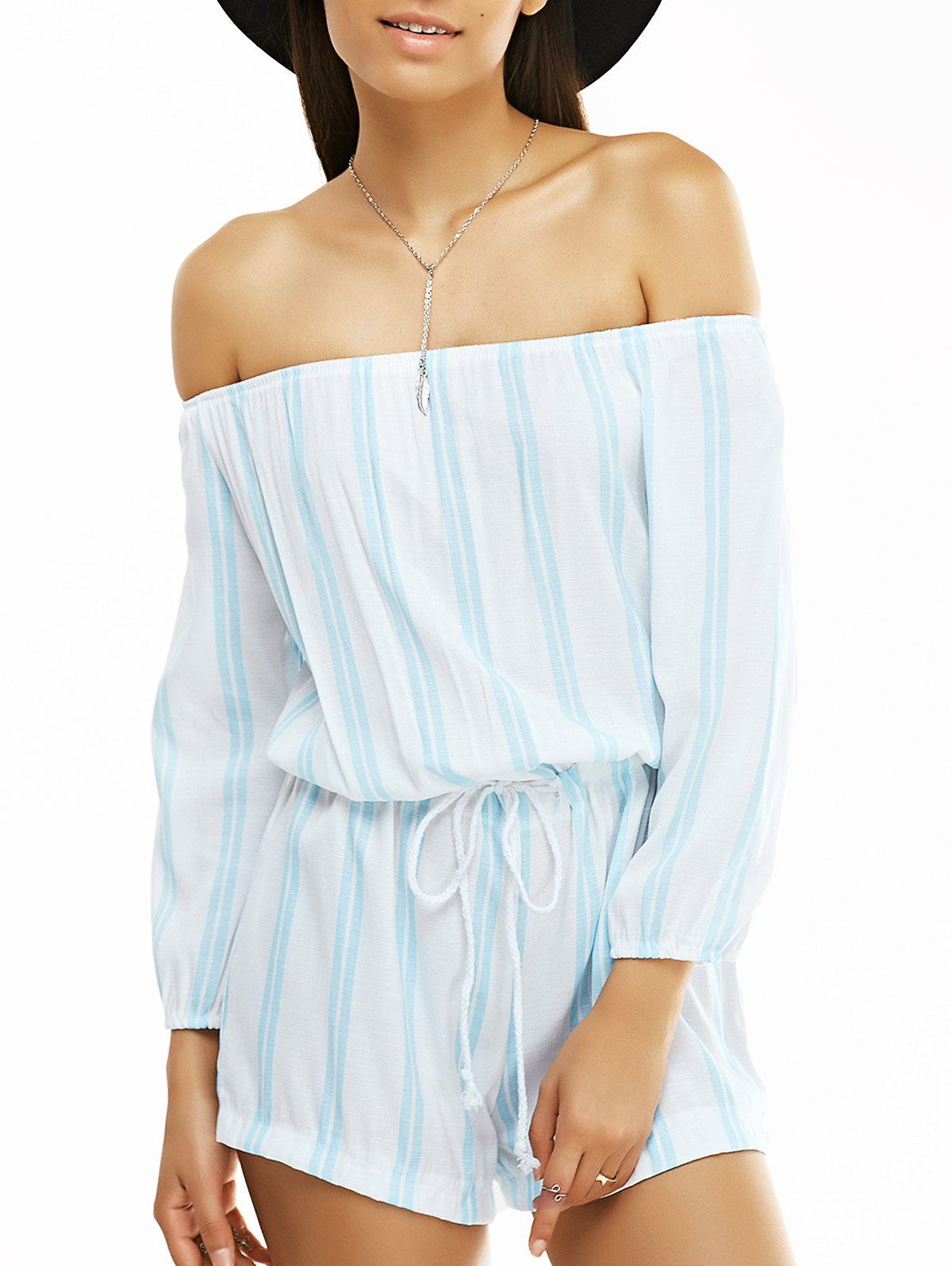 Off The Shoulder Long Sleeve Striped Playsuit
