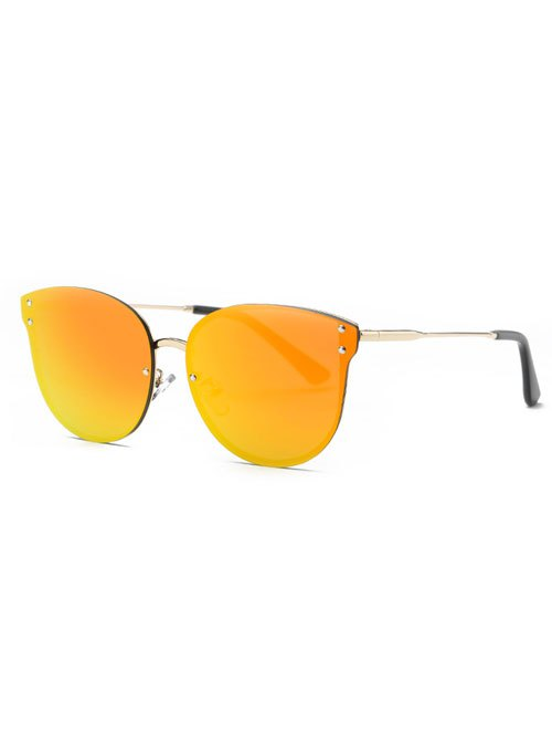 Frameless Cat Eye Mirrored Sunglasses