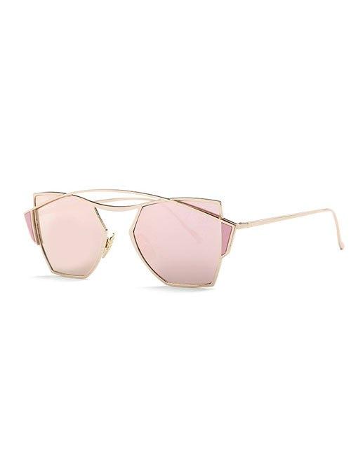 Vintage Crossbar Irregular Mirrored Sunglasses