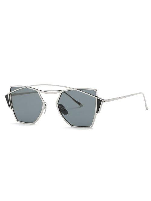Vintage Crossbar Cut Out Irregular Sunglasses
