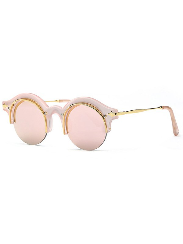 Retro Pink Round Eyebrow Mirrored Sunglasses