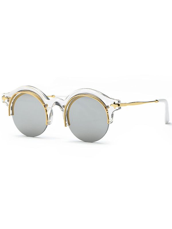 Retro Round Eyebrow Mirrored Sunglasses