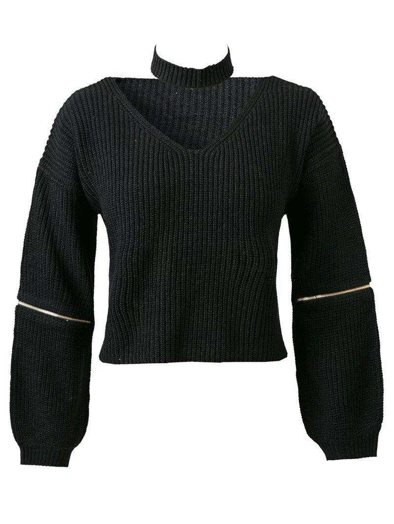 Long Sleeve Zipper Jumper With Choker