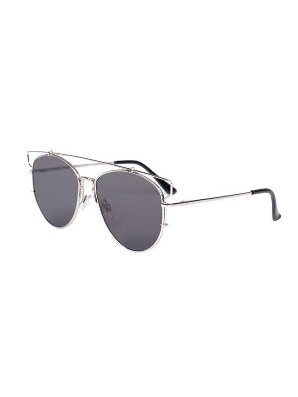Cut Out Crossbar Pilot Sunglasses - GRAY