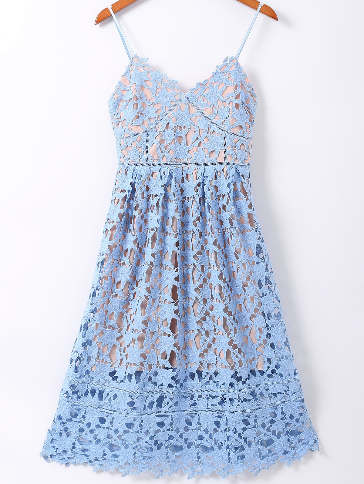 Spaghetti Straps Crochet Flowers Cut Out Dress