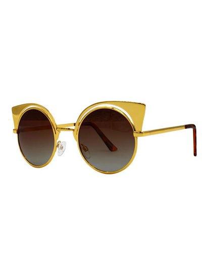 Retro Cat Ears Round Sunglasses