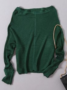 Loose Fitting Slash Neck Batwing Sleeve Sweater - Green