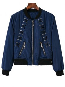 Stand Neck Lace Up Zipper Jacket - Blue S