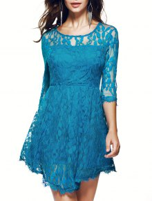 Sheer Sleeve Lace Skater Dress - Blue