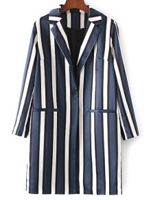 Striped Lapel Collar Long Sleeve Coat