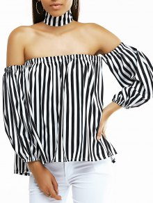 Off The Shoulder Lantern Sleeve Striped Loose Blouse - White And Black