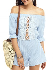 Striped Off The Shoulder Half Sleeve Romper - Stripe