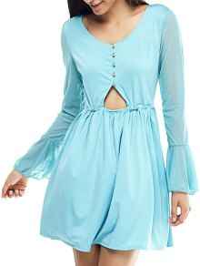 Mesh Spliced Scoop Neck Flare Sleeve Dress