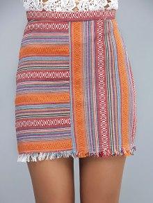 High Waist Packet Buttock Retro Striped Skirt - Yellow S
