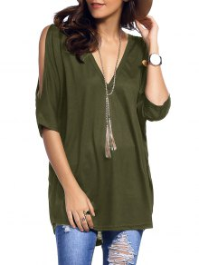 Cold Shoulder Batwing T-Shirt