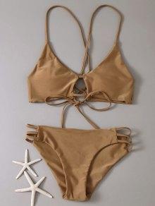 Strappy Bikini Set - Coffee