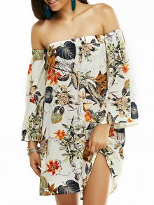 Off The Shoulder Vintage Printed Mini Dress - Gray