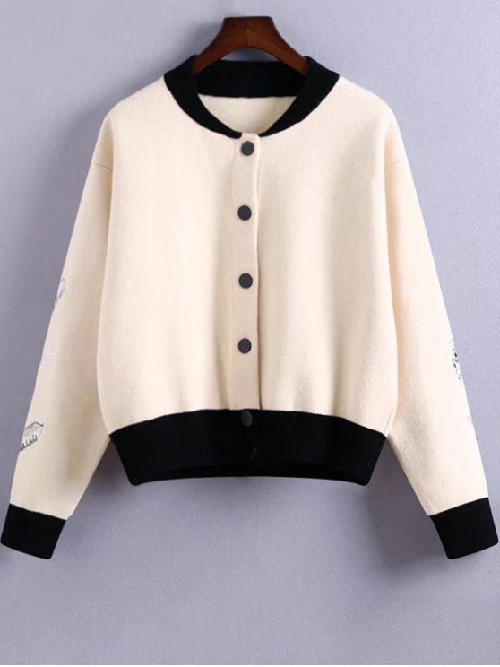 Embroidery Stand Neck Hit Color Jacket - WHITE ONE SIZE Mobile