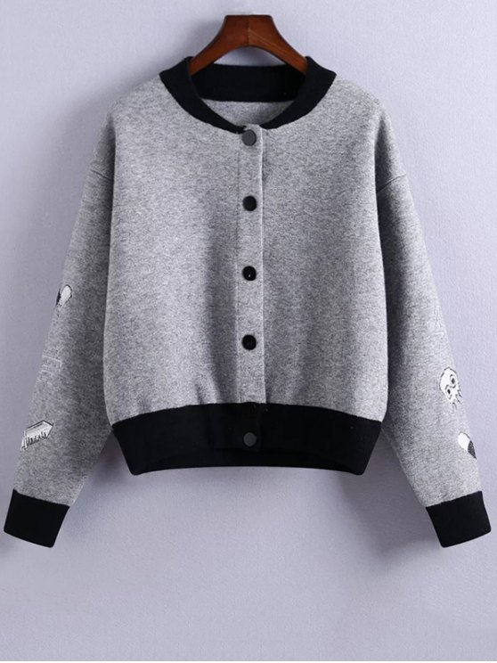 Embroidery Stand Neck Hit Color Jacket - GRAY ONE SIZE Mobile