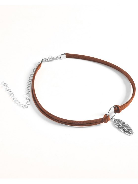 fancy Feather Velvet Choker Necklace - BROWN