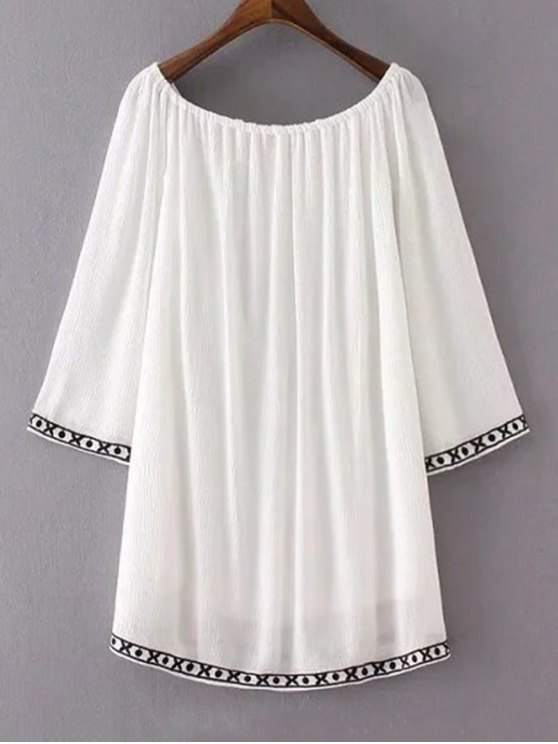 Ethnic Embroidery Casual Dress - WHITE M Mobile