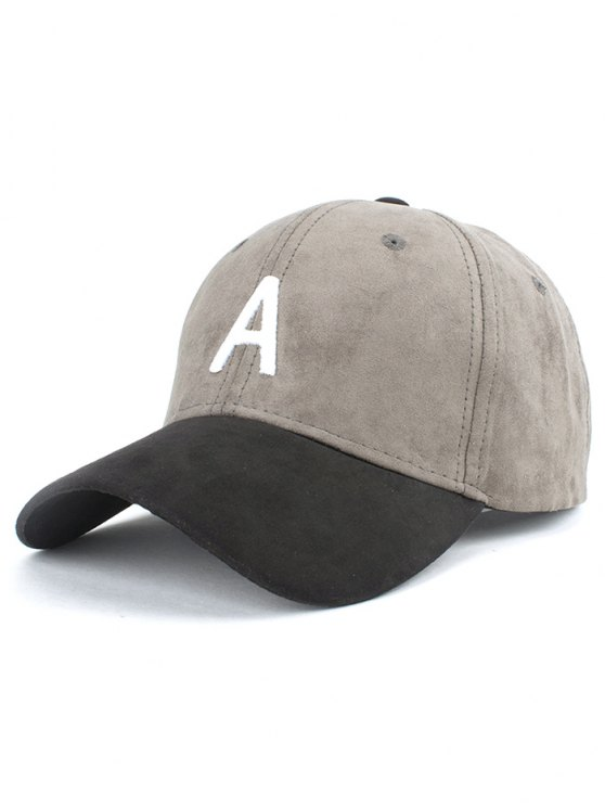 Letter Embroidery Suede Baseball Cap - GRAY  Mobile