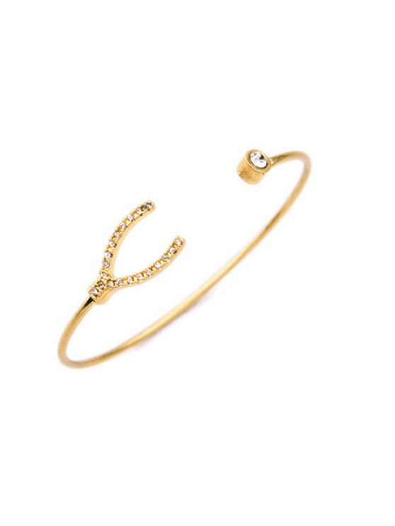 Rhinestone Gold Plated Cuff Bracelet - GOLDEN  Mobile