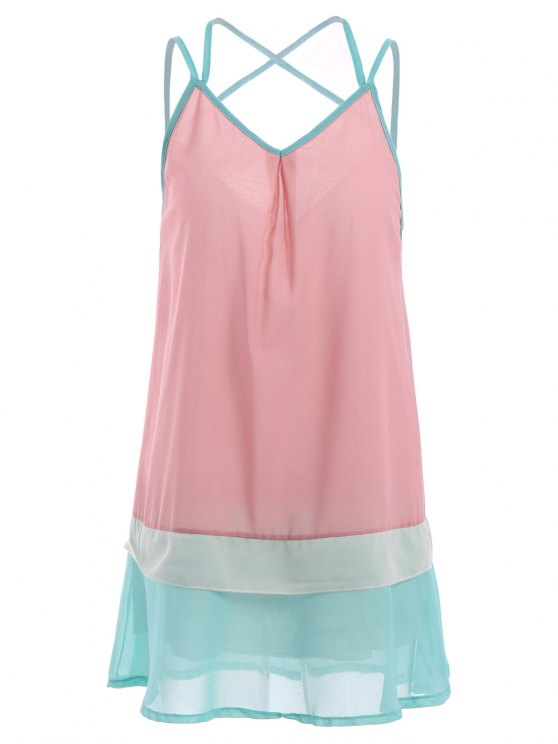 outfit Spaghetti Strap Color Block Sleeveless Dress - COLORMIX S