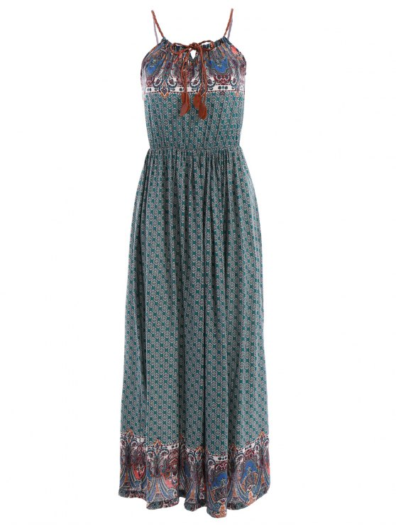 women Spaghetti Strap Tie-Up Floral Print Maxi Dress - GREEN S