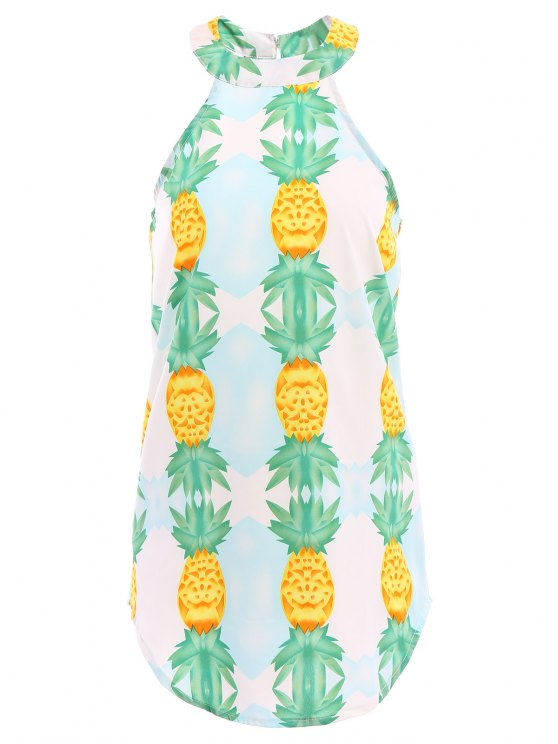 hot Pineapple Print Sleeveless Dress - GREEN S
