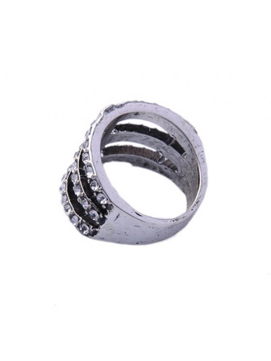 Caged Rhinestone Ring - SILVER  Mobile