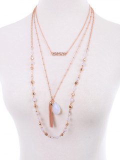 Teardrop Fringe Layered Necklace - Rose Gold