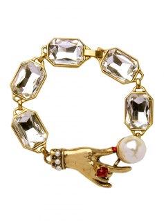 Etched Hand Faux Gemstone Bracelet - Golden