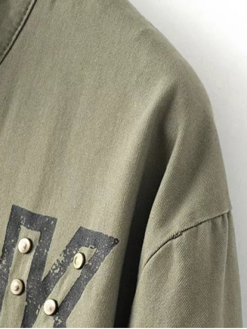 chic Letter Print Stand Neck Eagle Embroidered Coat - ARMY GREEN L Mobile