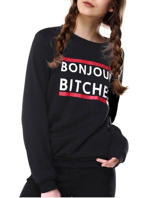 latest Loose Fitting Letter Print Sweatshirt - BLACK L Mobile