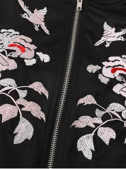 latest Floral Embroidery Hit Color Stand Neck Jacket - WHITE AND BLACK S Mobile