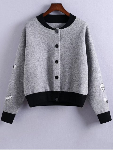 outfit Embroidery Stand Neck Hit Color Jacket - GRAY ONE SIZE Mobile