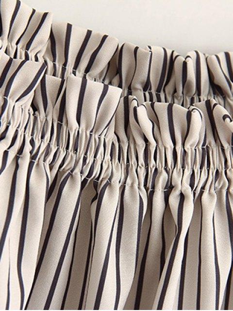 women's Cold Shoulder  Striped Blouse - STRIPE S Mobile