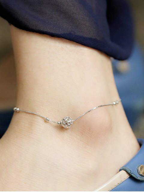 affordable Hollowed Ball Anklet - SILVER  Mobile