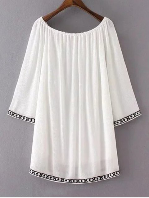 outfit Ethnic Embroidery Casual Dress - WHITE M Mobile